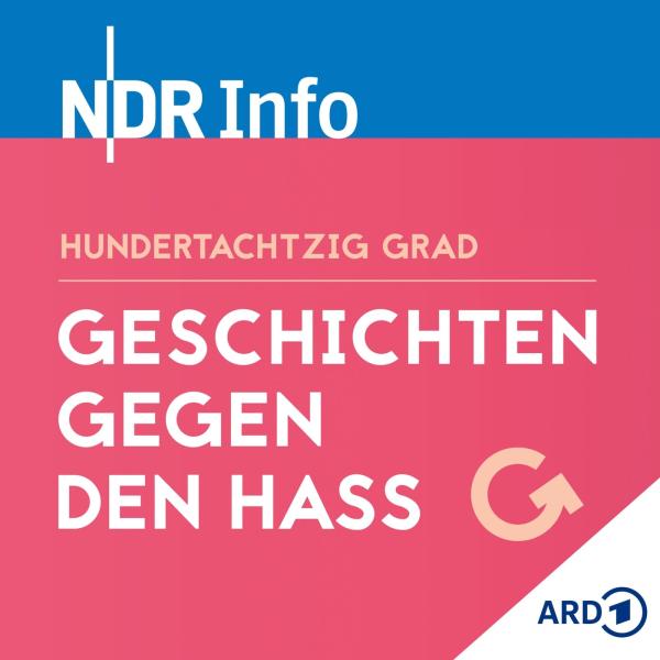 Link im Bild zum NDR Info Podcast Geschichten gegen den Hass. Gewinner des deutschen Radiopreis.