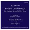 """Talk 5 - EDITING """"UNORTHODOX"""" Download"""